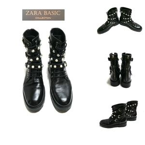 ZARA Leather Ankle Boots/Biker, Black with Pearls